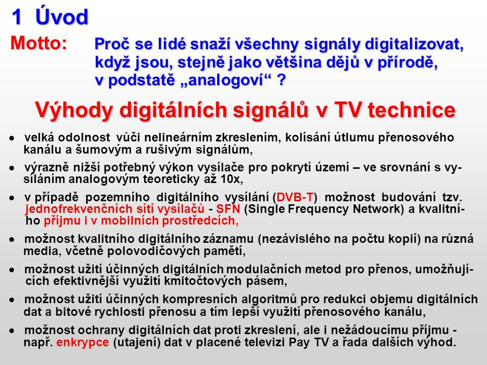1 Úvod 1 Úvod Motto: Proč se lidé snaží všechny signály digitalizovat, Motto: Proč se lidé snaží všechny signály digitalizovat, když jsou, stejně jako