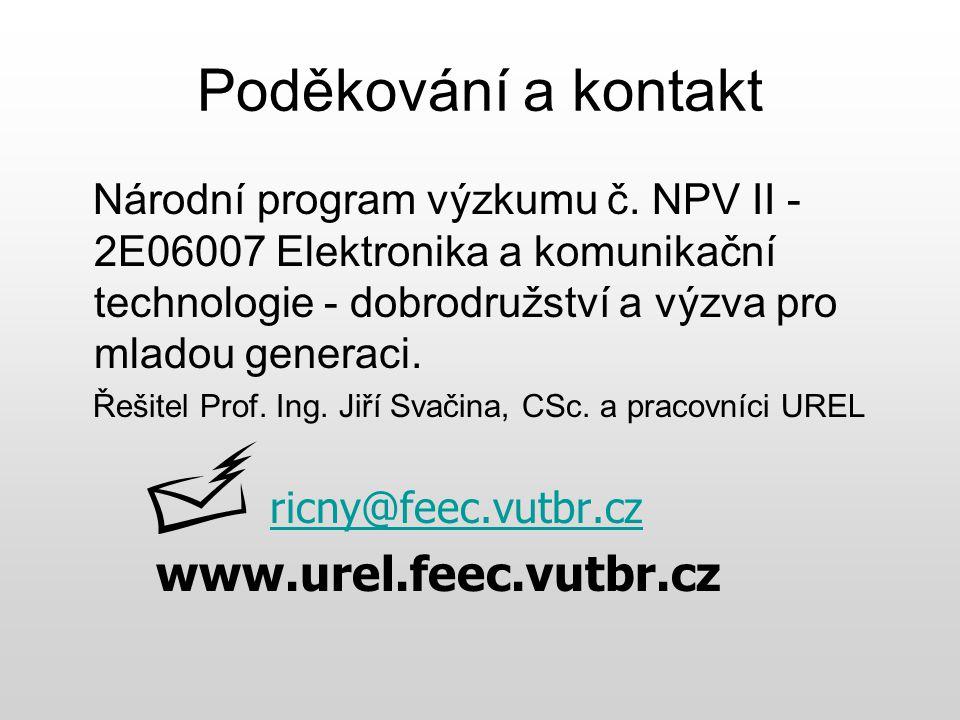 Poděkování a kontakt Národní program výzkumu č. NPV II - 2E06007 Elektronika a komunikační technologie - dobrodružství a výzva pro mladou generaci. Ře