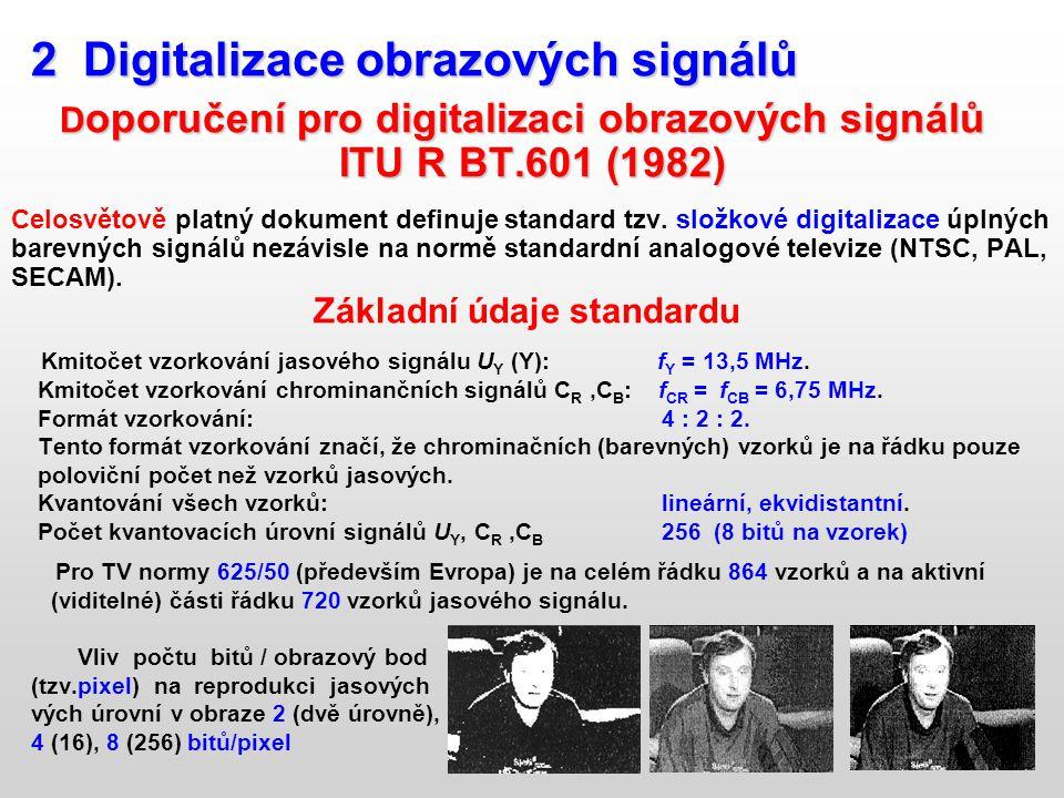 2 Digitalizace obrazových signálů 2 Digitalizace obrazových signálů D oporučení pro digitalizaci obrazových signálů D oporučení pro digitalizaci obraz