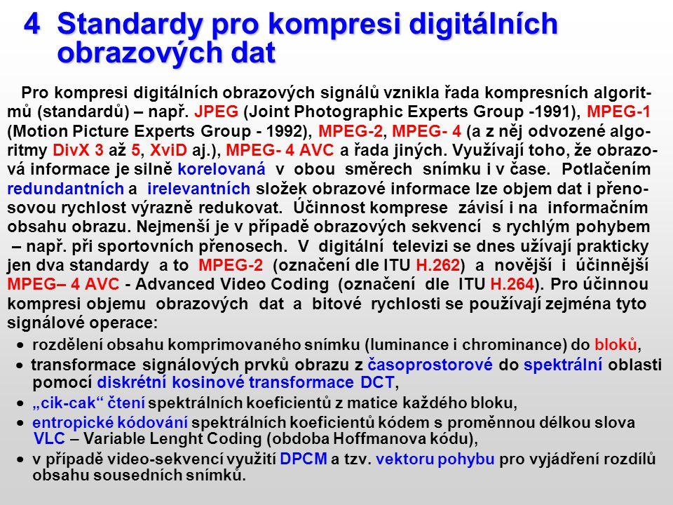 4 Standardy pro kompresi digitálních 4 Standardy pro kompresi digitálních obrazových dat obrazových dat Pro kompresi digitálních obrazových signálů vz