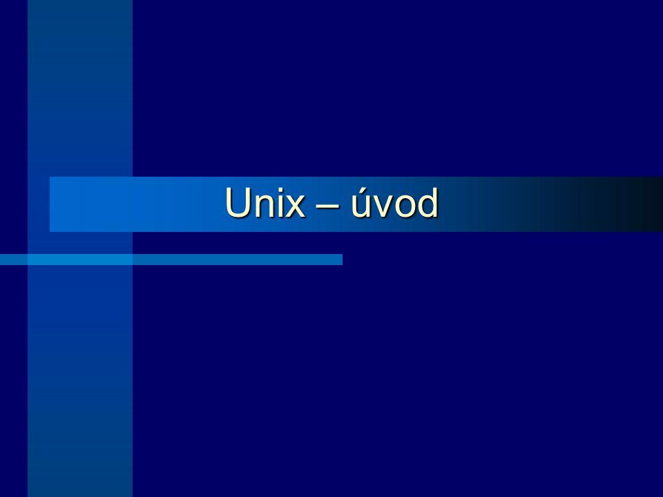 12 Charakteristické rysy Unixu Běžící program = proces Je víceúlohový – běží více procesů současně Základní proces – interpret příkazů shell (obecný název) – spouští se pro každého uživatele zvlášť po jeho přihlášení Pomocí shellu uživatel spouští další uživatelské procesy Systémové procesy se spouští zpravidla při startu systému Démon – typ systémového procesu (většinou čeká na výskyt události, kterou ošetřuje, probouzí se tedy na základě nějaké akce, příp.