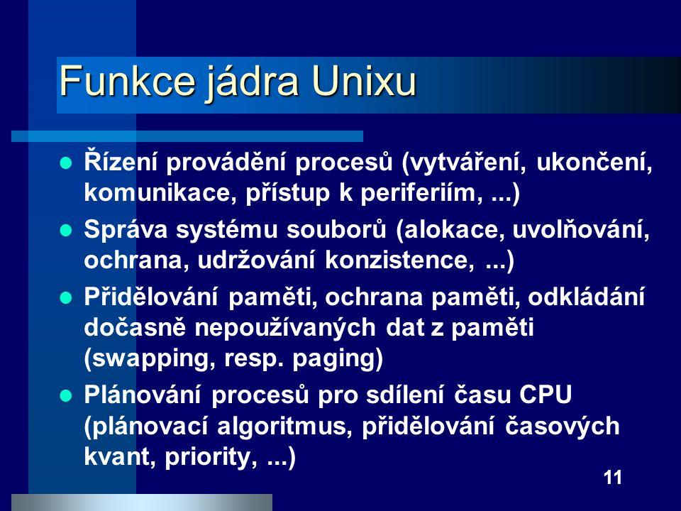 11 Funkce jádra Unixu Řízení provádění procesů (vytváření, ukončení, komunikace, přístup k periferiím,...) Správa systému souborů (alokace, uvolňování