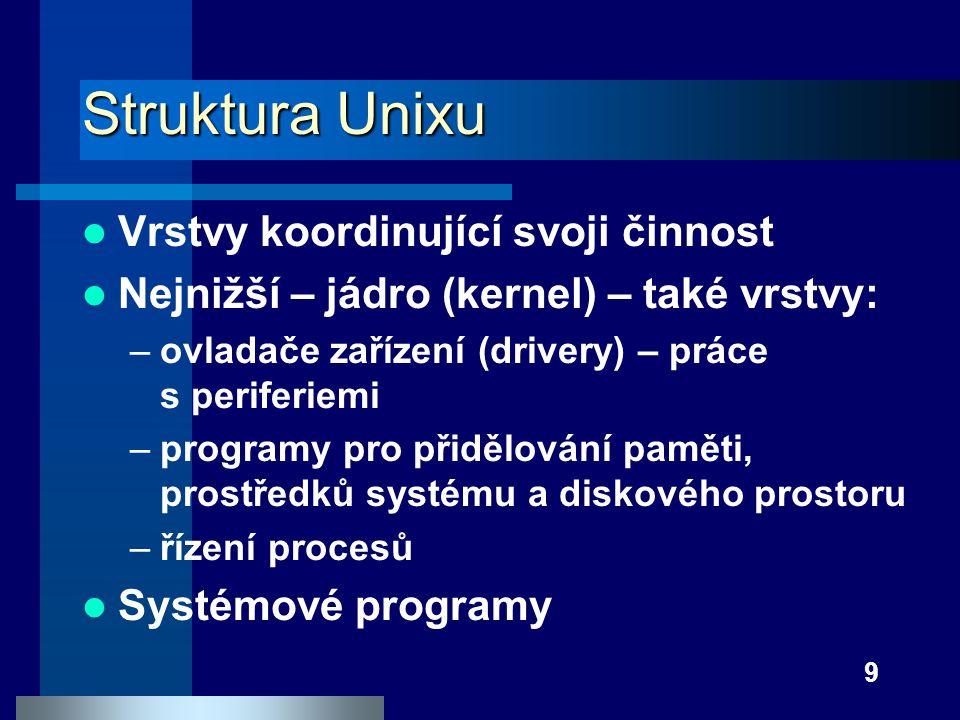 9 Struktura Unixu Vrstvy koordinující svoji činnost Nejnižší – jádro (kernel) – také vrstvy: –ovladače zařízení (drivery) – práce s periferiemi –progr