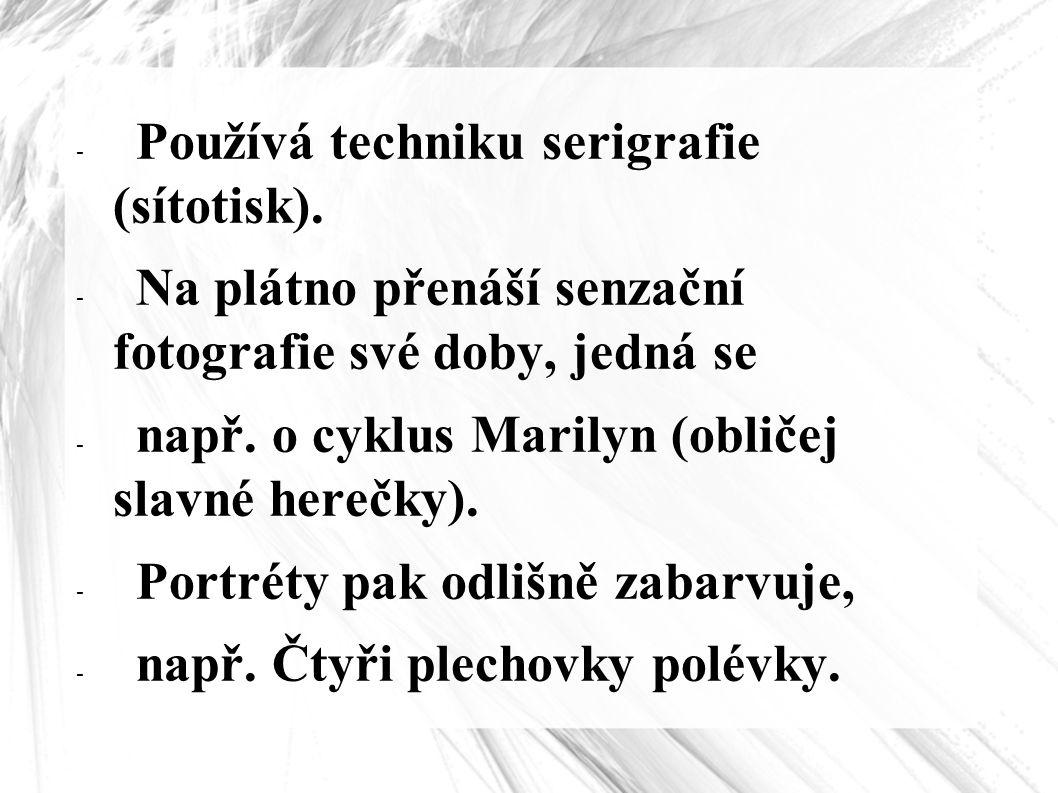 - Používá techniku serigrafie (sítotisk). - Na plátno přenáší senzační fotografie své doby, jedná se - např. o cyklus Marilyn (obličej slavné herečky)