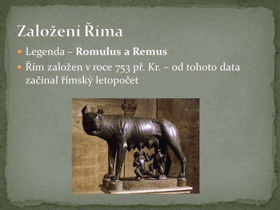 Do Říma se přistěhovali rozliční zbojníci, vyděděnci – vyhlášena beztrestnost (azyl) Chyběly však ženy Romulus uspořádal velkolepé hry – pozval sousední Sabiny – Římané uprostřed her unesli sabinské dívky do svého města