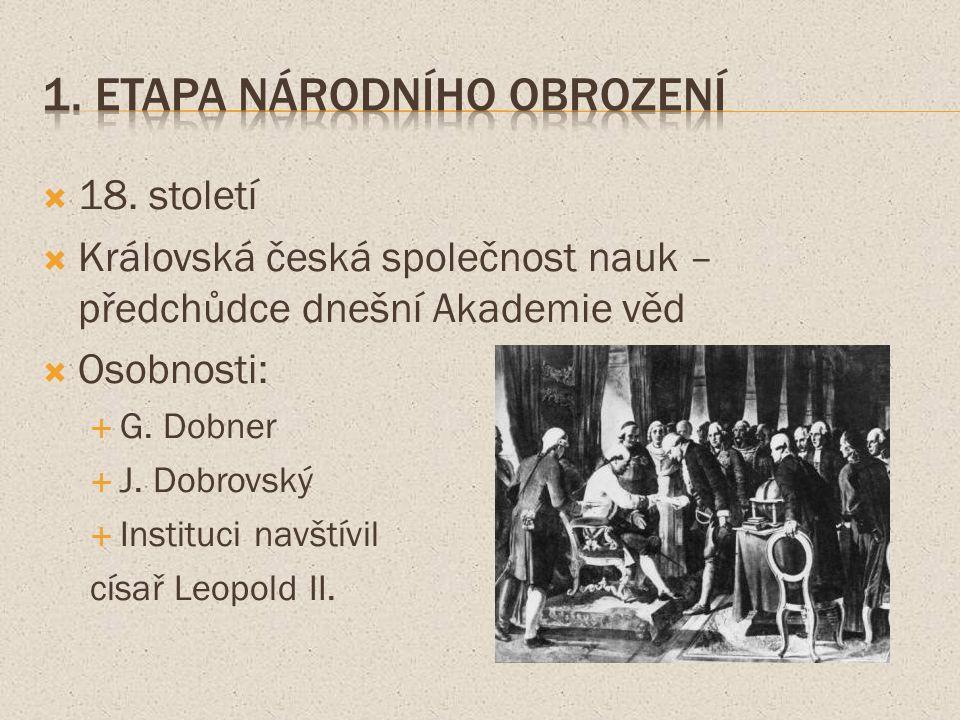  18. století  Královská česká společnost nauk – předchůdce dnešní Akademie věd  Osobnosti:  G.