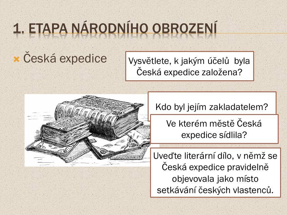  Česká expedice Vysvětlete, k jakým účelů byla Česká expedice založena.