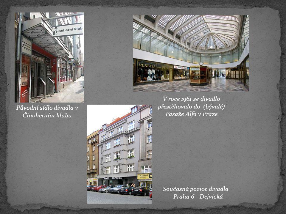 Původní sídlo divadla v Činoherním klubu V roce 1961 se divadlo přestěhovalo do (bývalé) Pasáže Alfa v Praze Současná pozice divadla – Praha 6 - Dejvi