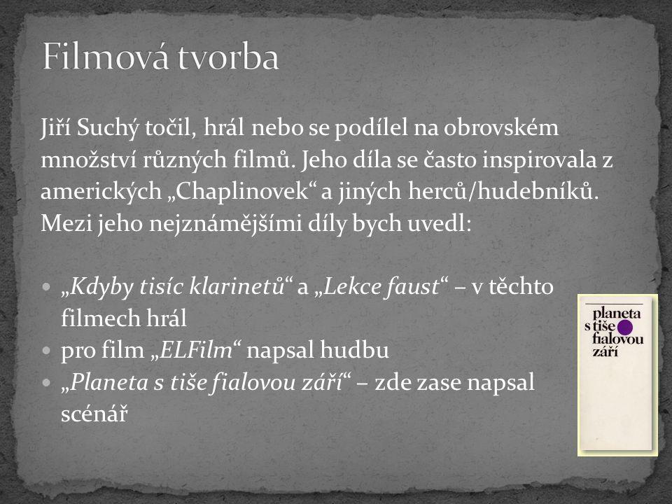 """Jiří Suchý točil, hrál nebo se podílel na obrovském množství různých filmů. Jeho díla se často inspirovala z amerických """"Chaplinovek"""" a jiných herců/h"""