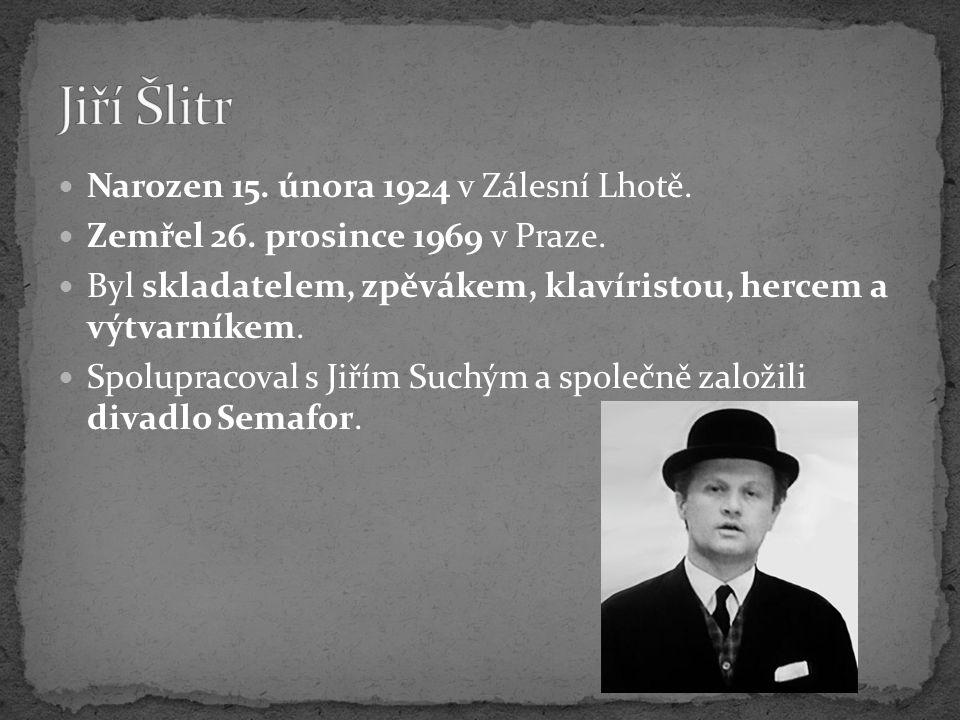 Narozen 15. února 1924 v Zálesní Lhotě. Zemřel 26. prosince 1969 v Praze. Byl skladatelem, zpěvákem, klavíristou, hercem a výtvarníkem. Spolupracoval