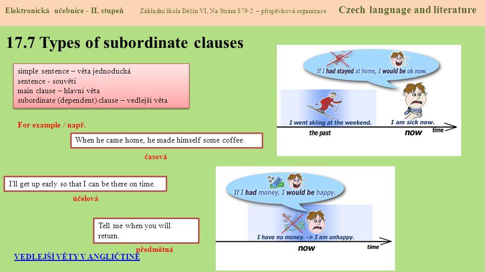 17.7 Types of subordinate clauses Elektronická učebnice - II. stupeň Základní škola Děčín VI, Na Stráni 879/2 – příspěvková organizace Czech language