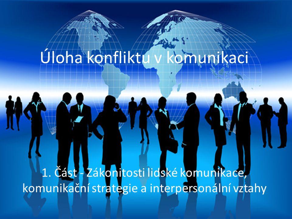Proces mezilidské komunikace Úloha konfliktu v komunikaci 1. Část - Zákonitosti lidské komunikace, komunikační strategie a interpersonální vztahy