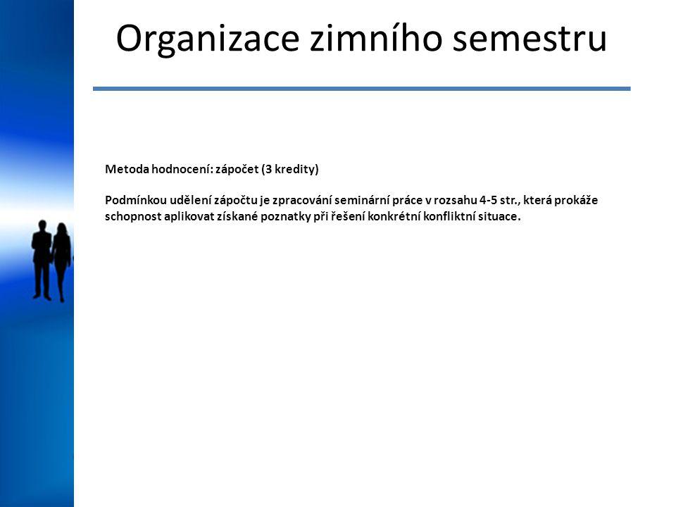 Organizace zimního semestru Metoda hodnocení: zápočet (3 kredity) Podmínkou udělení zápočtu je zpracování seminární práce v rozsahu 4-5 str., která pr