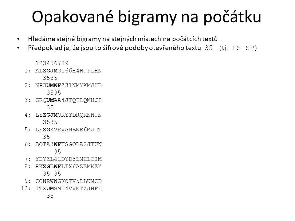 Opakované bigramy na počátku Hledáme stejné bigramy na stejných místech na počátcích textů Předpoklad je, že jsou to šifrové podoby otevřeného textu 3