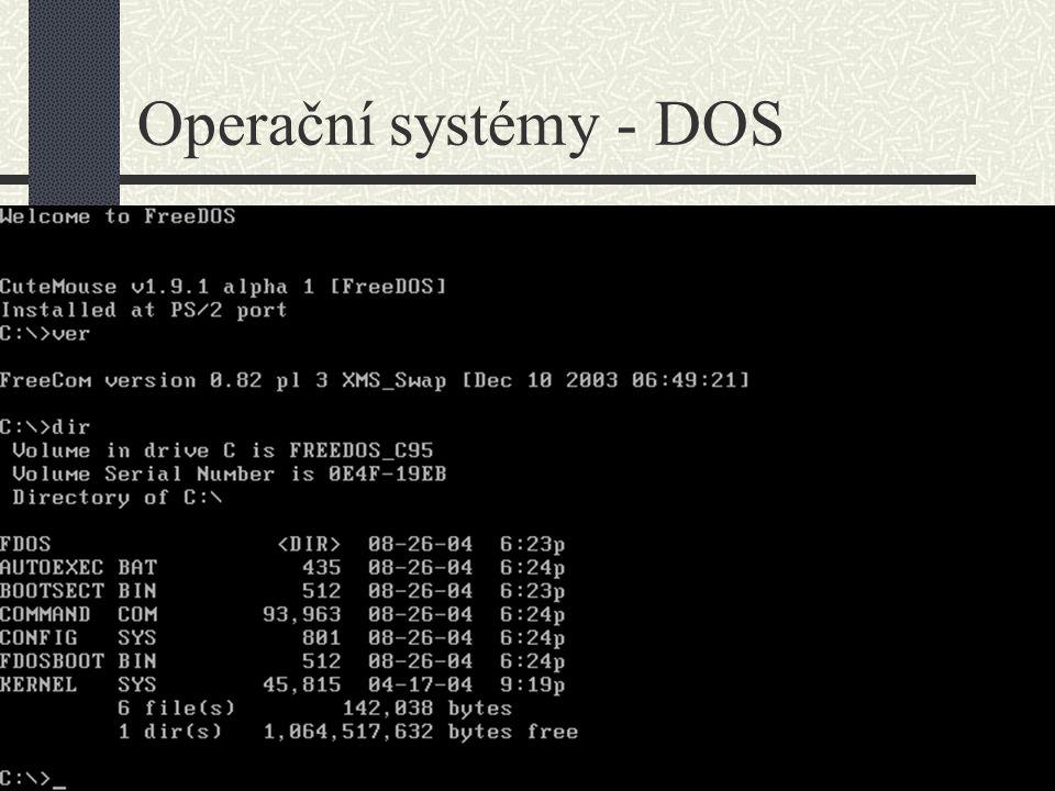 Operační systémy – DOS – ukázka příkazů Instrukční sada MS-DOS 6.22 interní příkazy COPY kopíruje soubory DEL maže soubory REN provádí přejmenování souboru TYPE vypíše obsah (textového) souboru DIR vypíše obsah adresáře CD nastaví pracovní adresář MD vytvoří adresář RD vymaže prázdný adresář