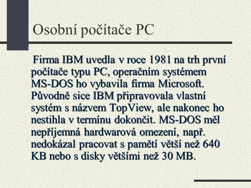 Operační systémy – DOS – ukázka příkazů FORMAT Formátuje disk nebo disketu FDISK Připravuje médium k formátování UNFORMAT Obnovuje data ztracená formátováním LABEL Připravuje disku jméno SYS Vytváří systémový disk DISKCOPY Kopíruje celé disky DISKCOMP Porovnává obsahy disků CHKDSK Kontroluje integritu souborů na disku SCANDISK Kontroluje a opravuje chyby na disku SMARTDRV Vytváří vyrovnávací paměť disku DEFRAG Odstraňuje fragmentaci disku DRVSPACE Komprimuje disk UNDELETE Obnovuje vymazané soubory ATTRIB Zobrazuje a upravuje atributy souborů EDIT Spouští jednoduchý textový editor MEMMAKER Optimalizuje využití paměti