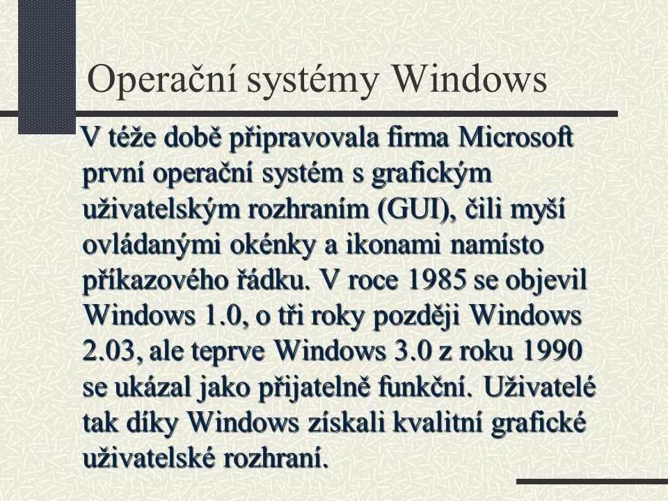 Operační systémy Windows V téže době připravovala firma Microsoft první operační systém s grafickým uživatelským rozhraním (GUI), čili myší ovládanými