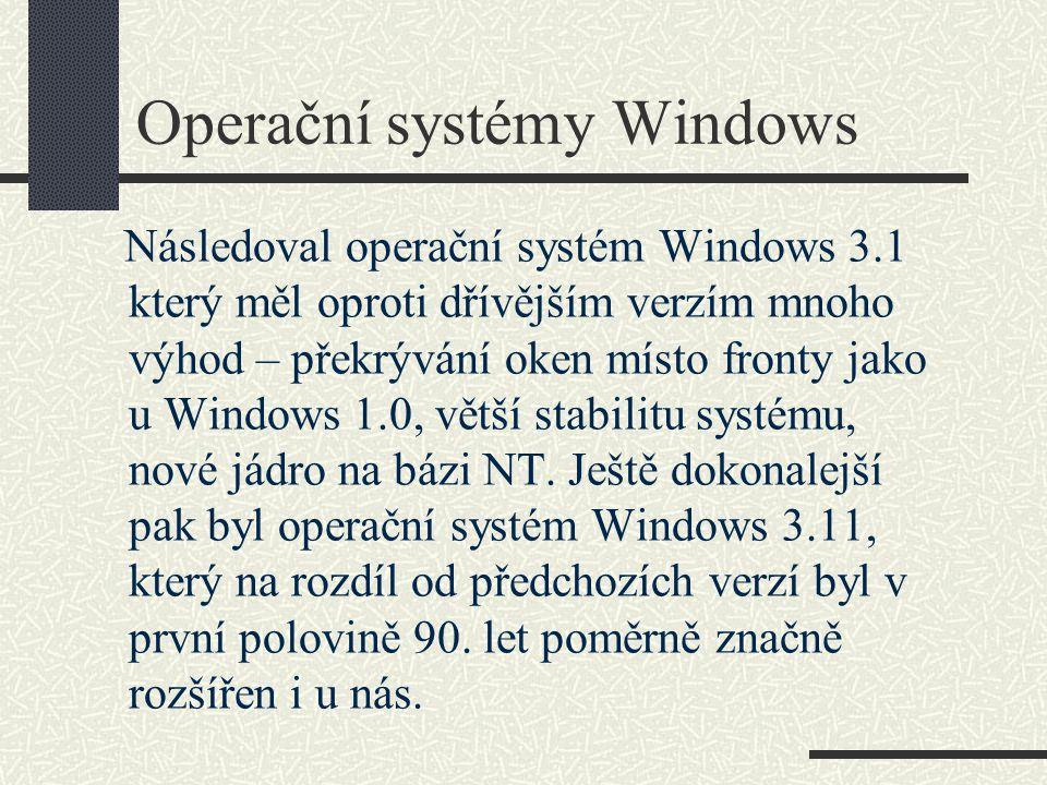 Obrazovka operačního systému Windows 3.1