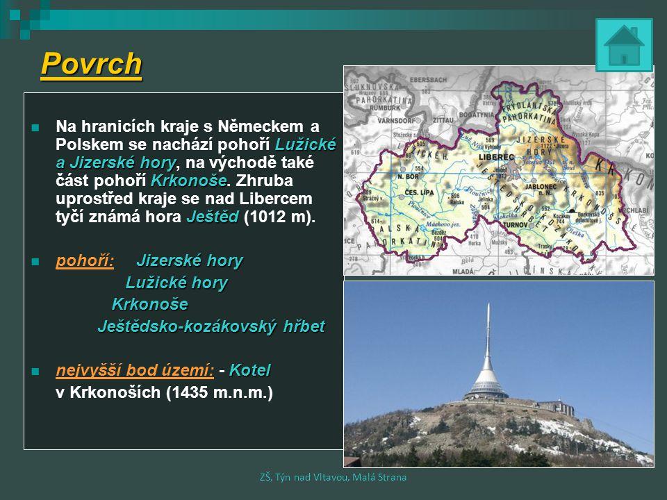 Povrch Lužické a Jizerské hory Krkonoše Ještěd Na hranicích kraje s Německem a Polskem se nachází pohoří Lužické a Jizerské hory, na východě také část