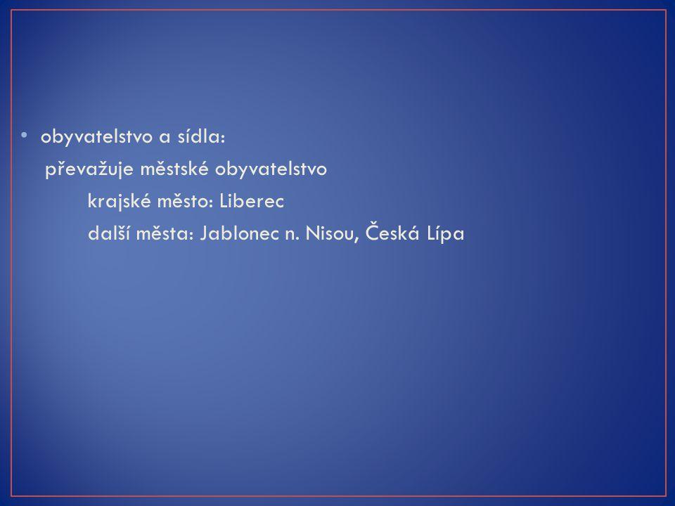 obyvatelstvo a sídla: převažuje městské obyvatelstvo krajské město: Liberec další města: Jablonec n. Nisou, Česká Lípa