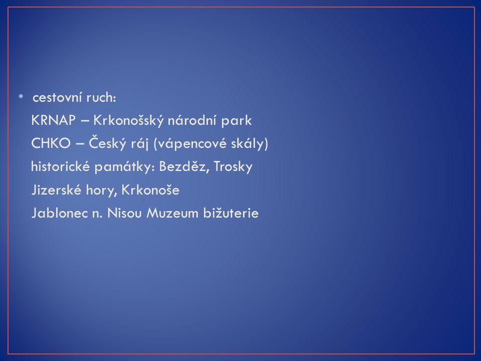 cestovní ruch: KRNAP – Krkonošský národní park CHKO – Český ráj (vápencové skály) historické památky: Bezděz, Trosky Jizerské hory, Krkonoše Jablonec n.