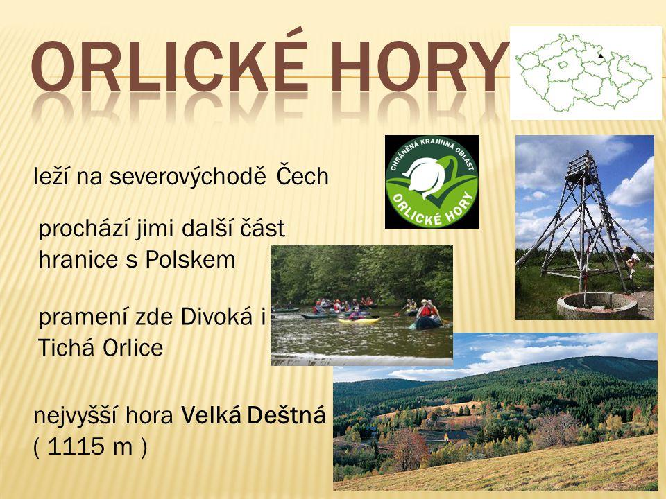 leží na severovýchodě Čech prochází jimi další část hranice s Polskem pramení zde Divoká i Tichá Orlice nejvyšší hora Velká Deštná ( 1115 m )