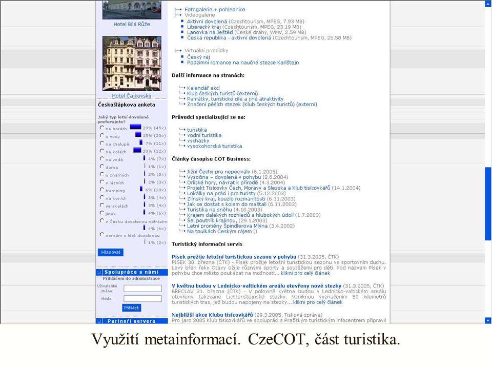 Využití metainformací. CzeCOT, část turistika.