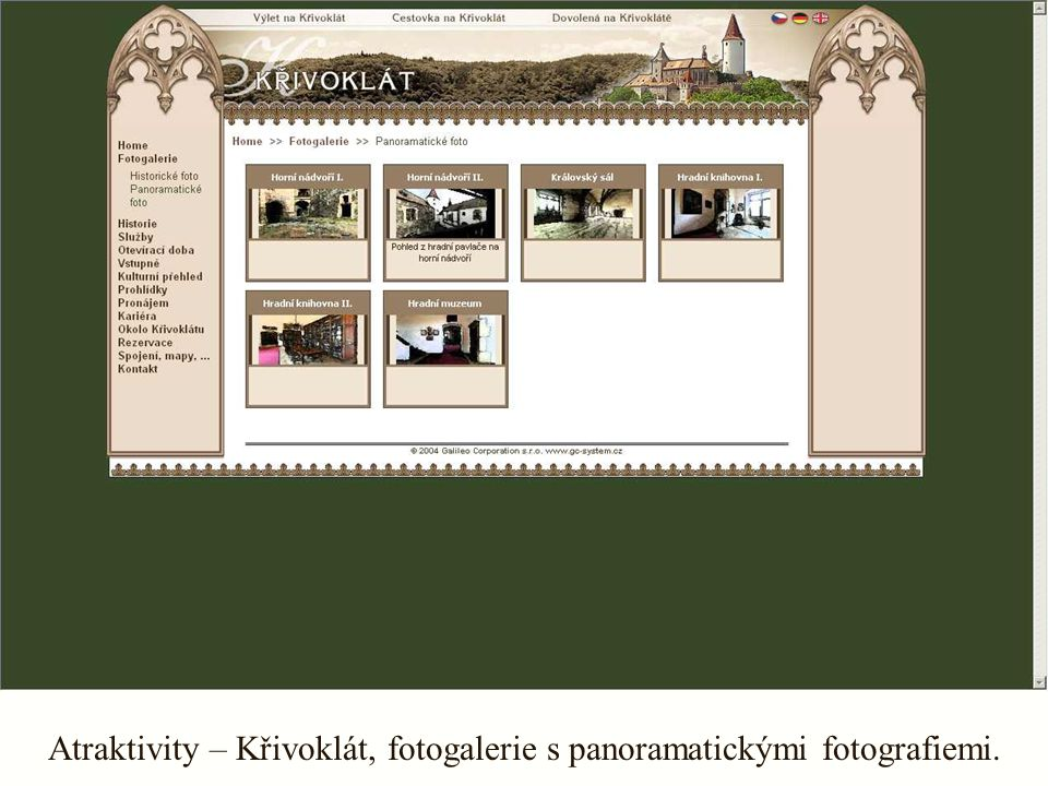 Atraktivity – Křivoklát, fotogalerie s panoramatickými fotografiemi.
