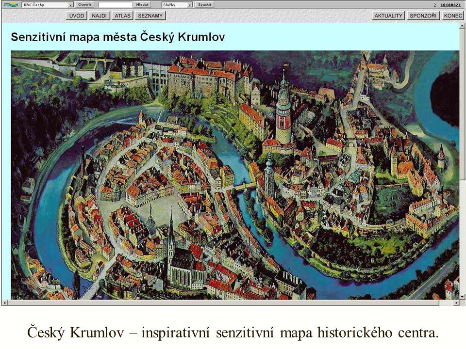 Český Krumlov – inspirativní senzitivní mapa historického centra.
