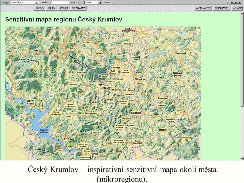 Český Krumlov – inspirativní senzitivní mapa okolí města (mikroregionu).