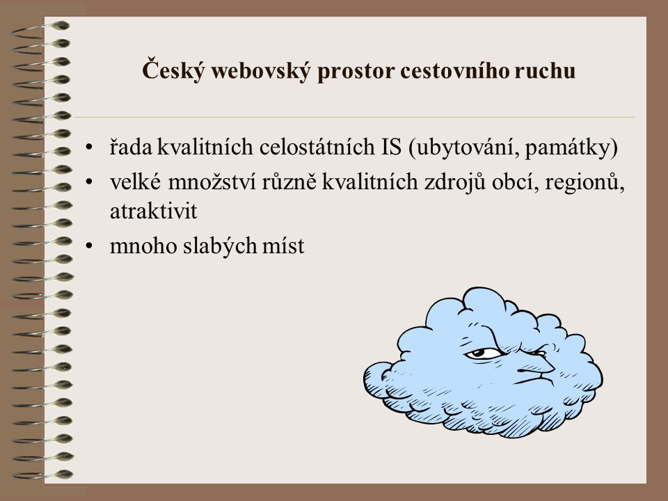 Český webovský prostor cestovního ruchu řada kvalitních celostátních IS (ubytování, památky) velké množství různě kvalitních zdrojů obcí, regionů, atraktivit mnoho slabých míst