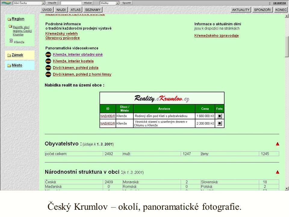 Český Krumlov – okolí, panoramatické fotografie.