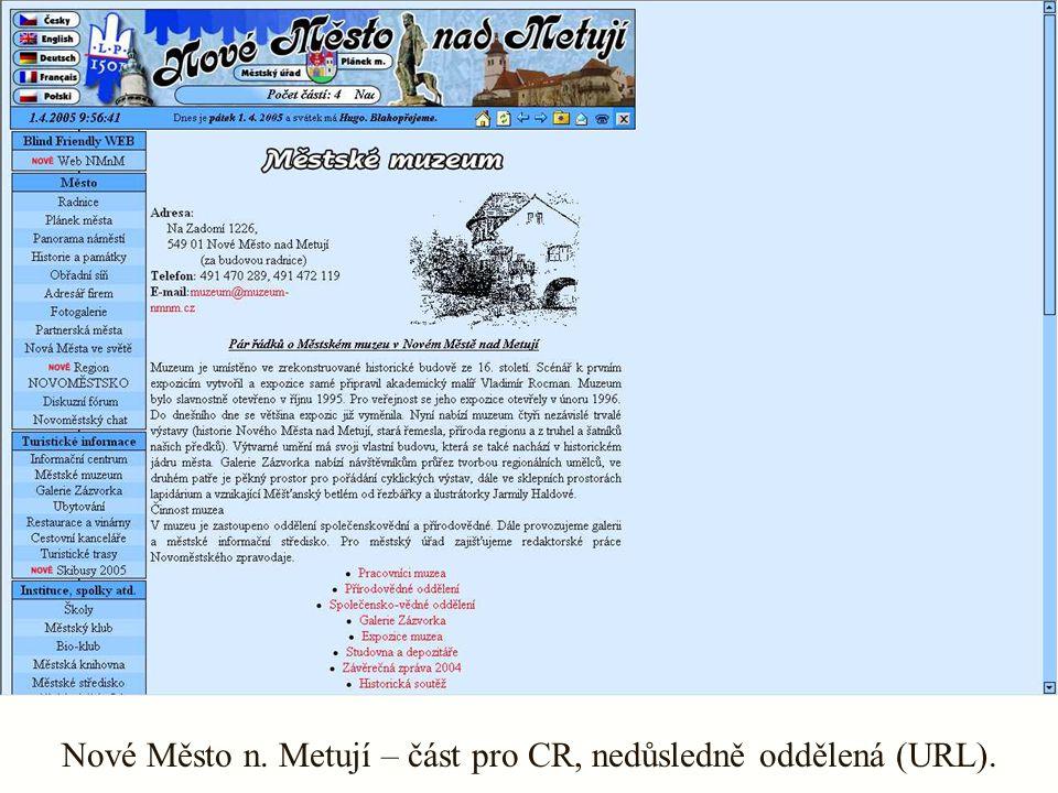 Nové Město n. Metují – část pro CR, nedůsledně oddělená (URL).