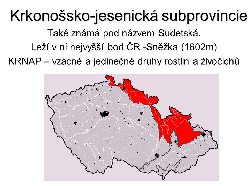 Krkonošsko-jesenická subprovincie Také známá pod názvem Sudetská. Leží v ní nejvyšší bod ČR -Sněžka (1602m) KRNAP – vzácné a jedinečné druhy rostlin a