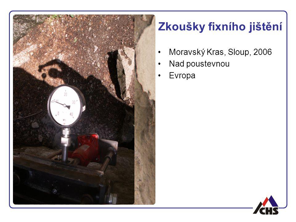 Zkoušky fixního jištění Moravský Kras, Sloup, 2006 Nad poustevnou Evropa