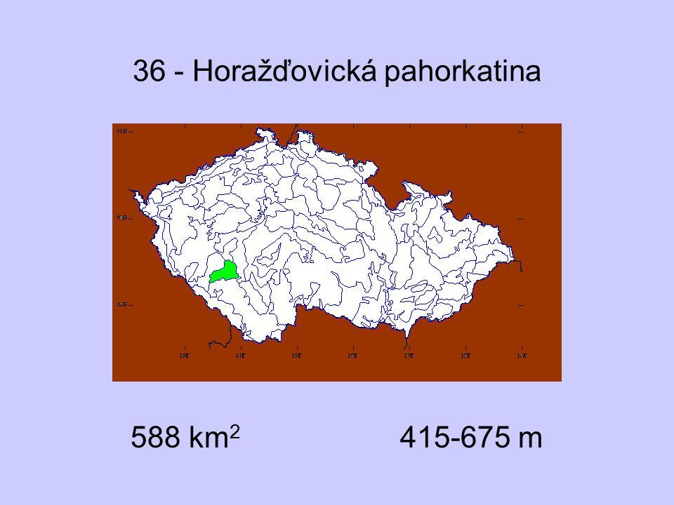 36 - Horažďovická pahorkatina Přírodní podmínky suprakolinní stupeň granodiority mozaika lesa a bezlesí rybníky skály chybějí rašeliny řídké 2 podokresy Významné lokality Velká Kuš, Dolejší rybník převážně druhotné lesy –potenciálně acidofilní doubravy Molinion Caricion fuscae Gentianella aspera, G.