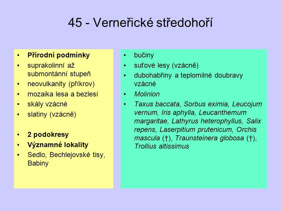 45 - Verneřické středohoří Přírodní podmínky suprakolinní až submontánní stupeň neovulkanity (příkrov) mozaika lesa a bezlesí skály vzácné slatiny (vz