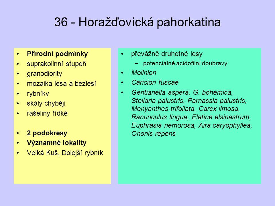 42 - Votická pahorkatina Přírodní podmínky suprakolinní stupeň převážně kyselé krystalinikum (ruly), vzácně vápence, hadce mozaika lesa a bezlesí skály chybějí humolity chybějí 2 podokresy Významné lokality Kamberk, Hrnčíře, Blaník, Kladrubská hora převážně druhotné lesy –potenciálně hlavně acidofilní doubravy bučiny Anemone sylvestris, Teucrium botrys, vzácné Genistella sagittalis, Cypripedium calceolus, Ceterach officinarum (druhotně), Minuartia smejkalii, Asplenium cuneifolium