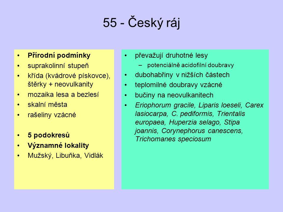 55 - Český ráj Přírodní podmínky suprakolinní stupeň křída (kvádrové pískovce), štěrky + neovulkanity mozaika lesa a bezlesí skalní města rašeliny vzá