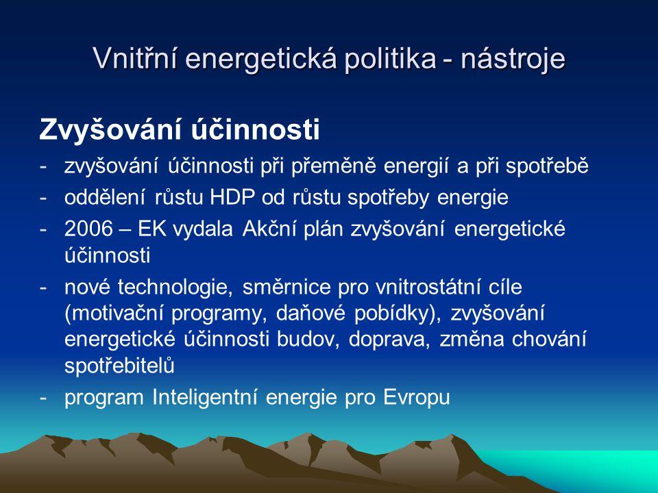 Vnitřní energetická politika - nástroje Zvyšování účinnosti -zvyšování účinnosti při přeměně energií a při spotřebě -oddělení růstu HDP od růstu spotř