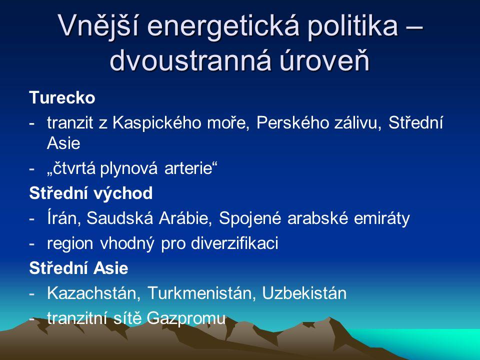 """Vnější energetická politika – dvoustranná úroveň Turecko -tranzit z Kaspického moře, Perského zálivu, Střední Asie -""""čtvrtá plynová arterie"""" Střední v"""