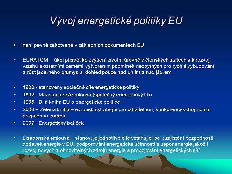 Vývoj energetické politiky EU není pevně zakotvena v základních dokumentech EU EURATOM – úkol přispět ke zvýšení životní úrovně v členských státech a