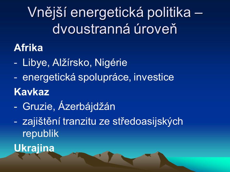 Vnější energetická politika – dvoustranná úroveň Afrika -Libye, Alžírsko, Nigérie -energetická spolupráce, investice Kavkaz -Gruzie, Ázerbájdžán -zaji