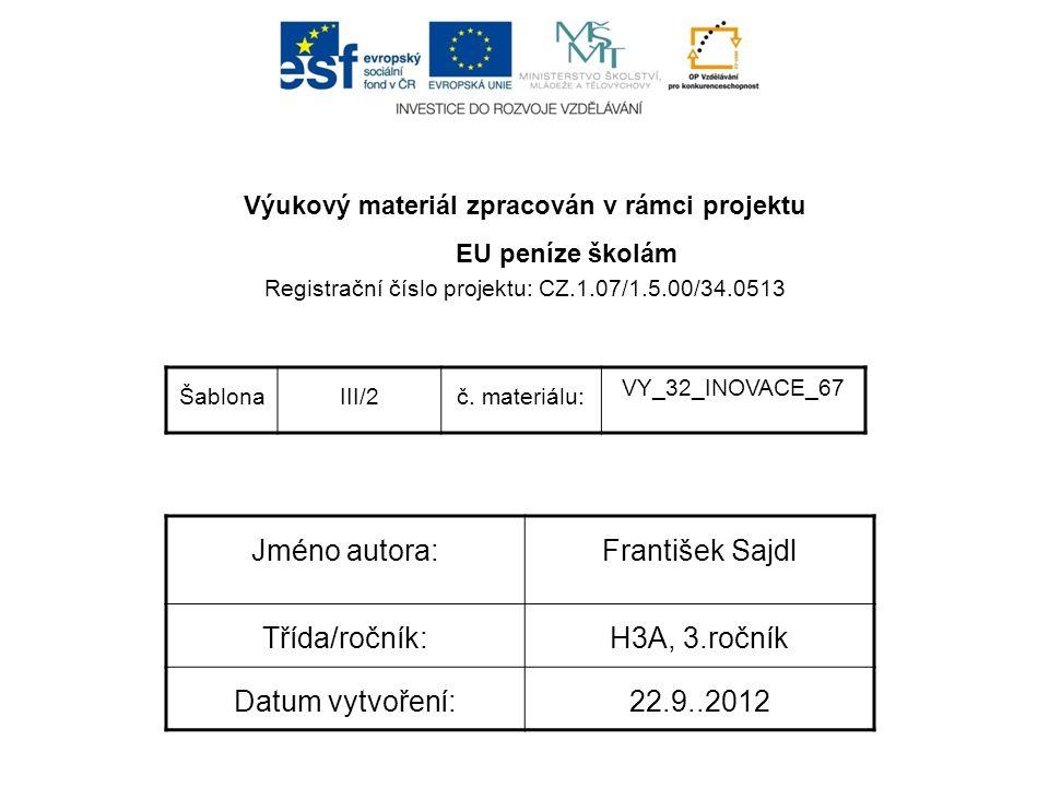 Výukový materiál zpracován v rámci projektu EU peníze školám Registrační číslo projektu: CZ.1.07/1.5.00/34.0513 ŠablonaIII/2č.