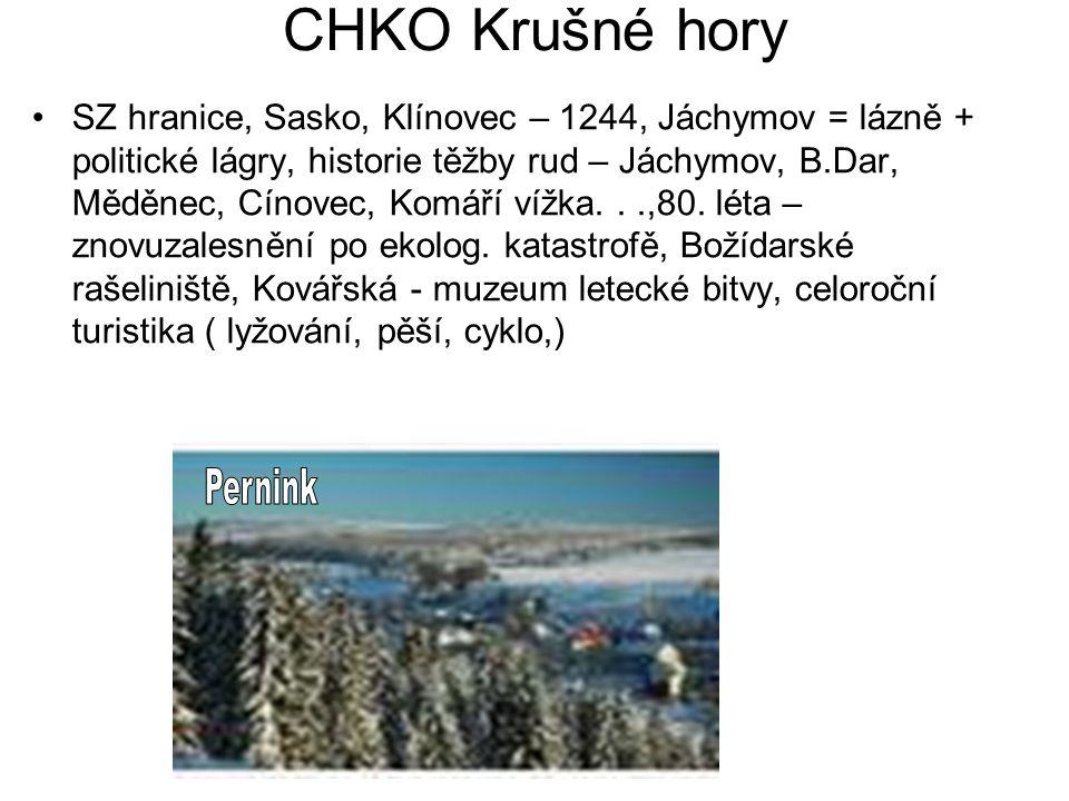 CHKO Krušné hory SZ hranice, Sasko, Klínovec – 1244, Jáchymov = lázně + politické lágry, historie těžby rud – Jáchymov, B.Dar, Měděnec, Cínovec, Komáří vížka...,80.
