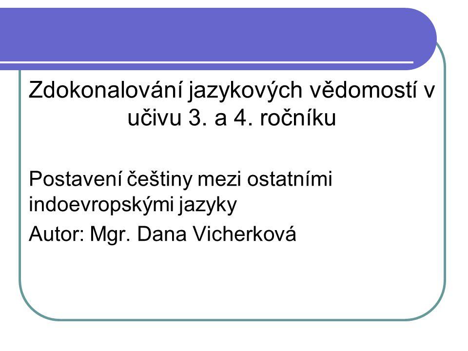 Zdokonalování jazykových vědomostí v učivu 3. a 4. ročníku Postavení češtiny mezi ostatními indoevropskými jazyky Autor: Mgr. Dana Vicherková