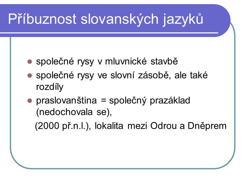 Příbuznost slovanských jazyků společné rysy v mluvnické stavbě společné rysy ve slovní zásobě, ale také rozdíly praslovanština = společný prazáklad (n