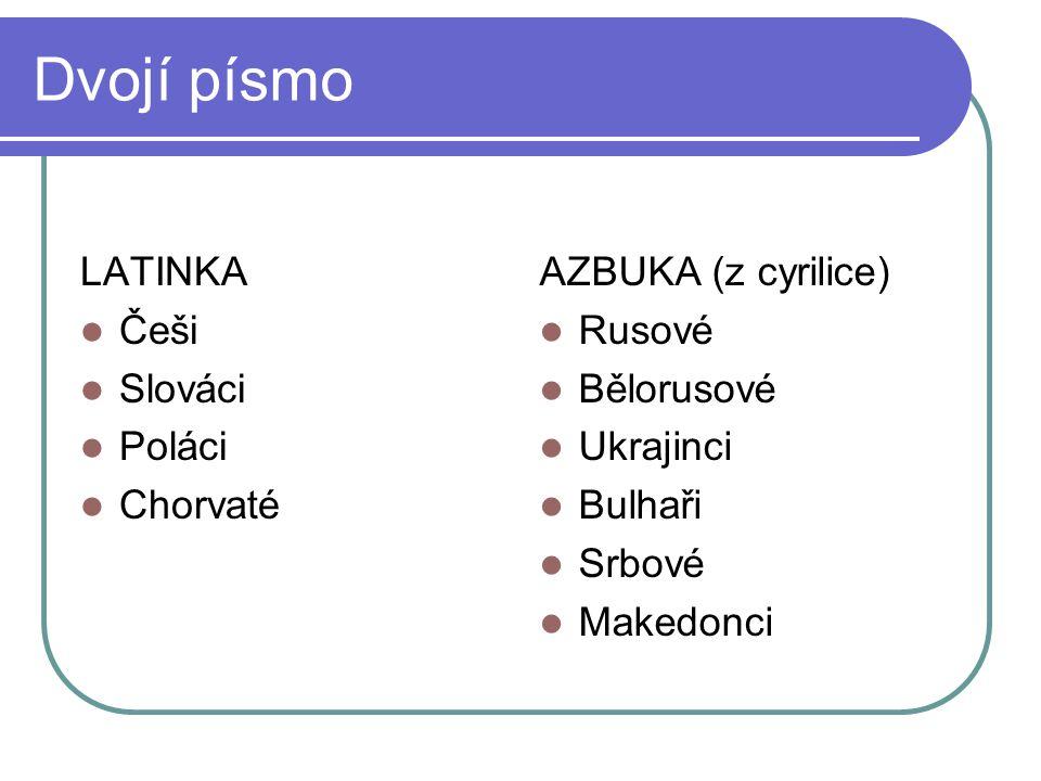 Dvojí písmo LATINKA Češi Slováci Poláci Chorvaté AZBUKA (z cyrilice) Rusové Bělorusové Ukrajinci Bulhaři Srbové Makedonci