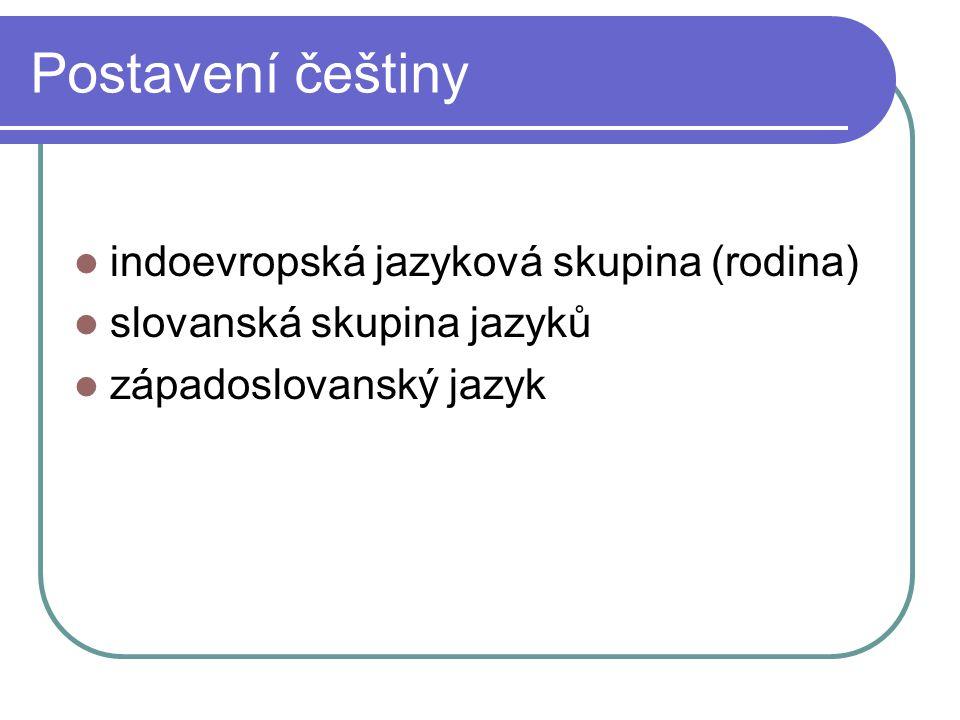 Postavení češtiny indoevropská jazyková skupina (rodina) slovanská skupina jazyků západoslovanský jazyk