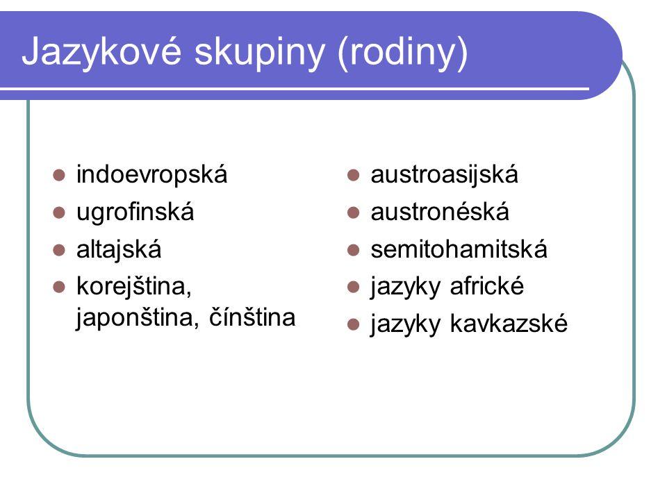 Jazykové skupiny (rodiny) indoevropská ugrofinská altajská korejština, japonština, čínština austroasijská austronéská semitohamitská jazyky africké ja